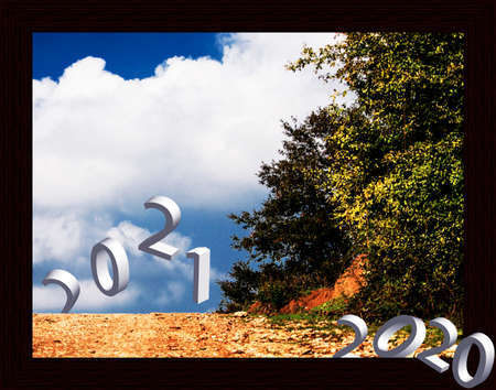 Happy New Year 2021 postcard abstract background Stockfoto