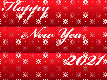 Happy New Year 2021 postcard background with abstract design of snowflakes