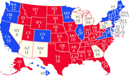 US 2020 presidential election map with swing states
