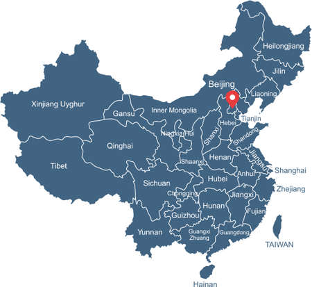 China map with capital Beijing Stock Illustratie