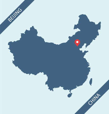 Map of China blue background