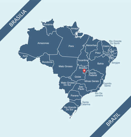 Map of Brazil with capital Brasilia Stock Illustratie