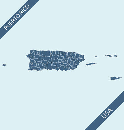 Puerto Rico map vector outlines Stock Illustratie