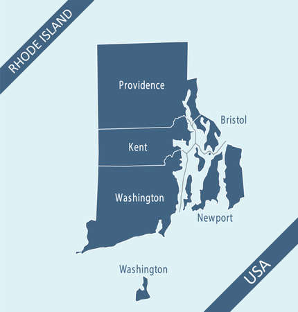 Rhode Island county map labeled 矢量图像