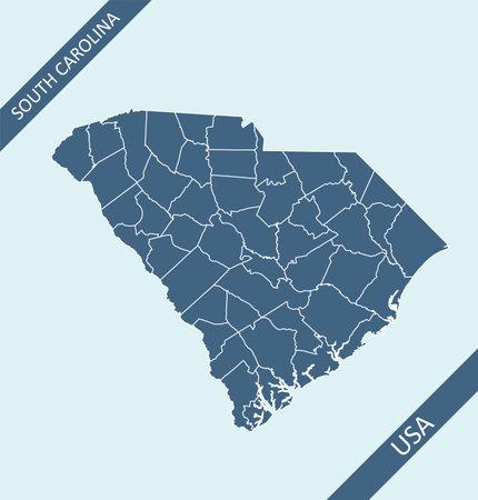 South Carolina county map USA