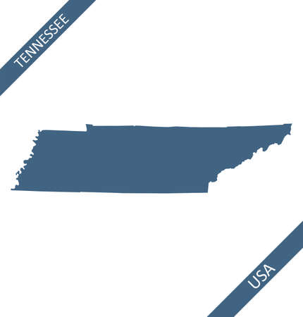 Tennessee blank map vector outlines