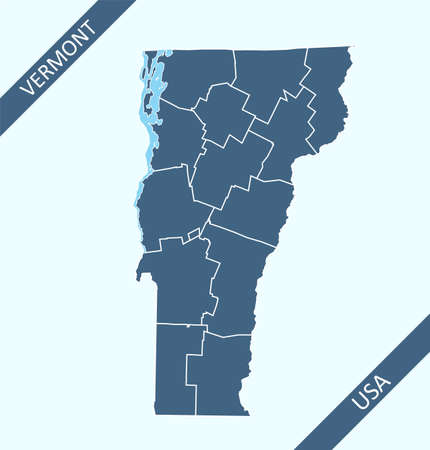 Vermont county map outlines blank