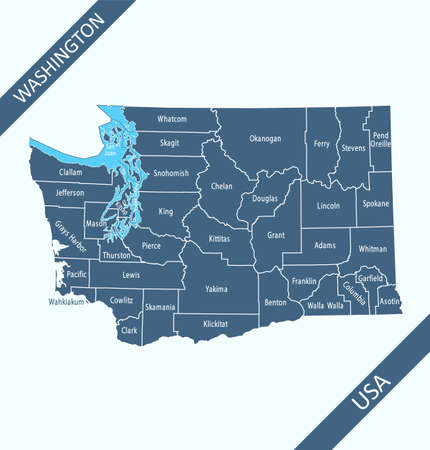 County map of Washington labeled