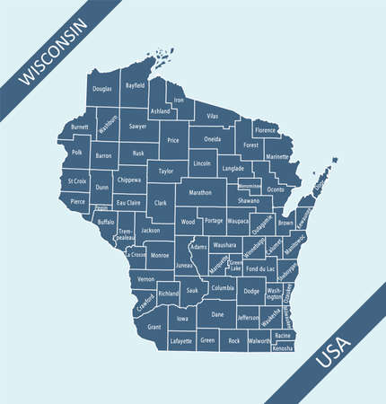 Counties map of Wisconsin labeled Ilustração