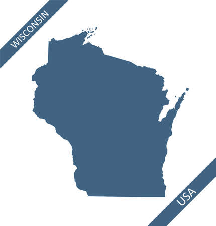 Wisconsin blank map outlines USA