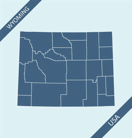 Wyoming counties map outlines blank Ilustração