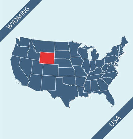 Wyoming highlighted on USA map