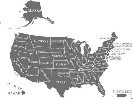 USA map states names labeled