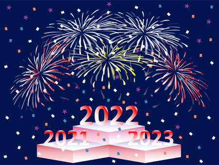 Happy New Year 2022! New Year 2022 won time completion Illustration