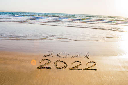 Happy New Year 2022 beach Banque d'images