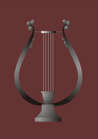 Musical instrument, lyre on a brown background with sheet Stock Photo - 5093026