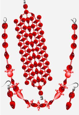 Conjunto de mujeres adornos, collares, pendientes, brazalete