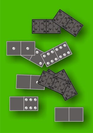 Dominoes board game on green cloth