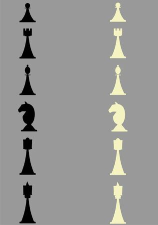 Contour chess figures on a grey background