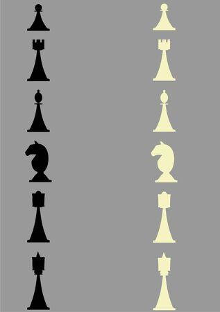 Figuras de ajedrez de contorno sobre un fondo gris Foto de archivo