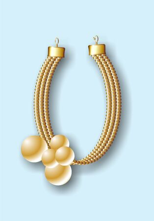 feminity: Necklace with spheres gilding on a blue background