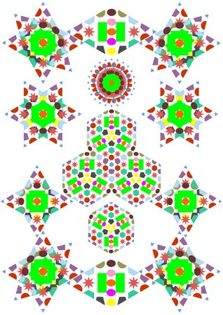 versions: The patterns executed by a kaleidoscope on a white background Stock Photo