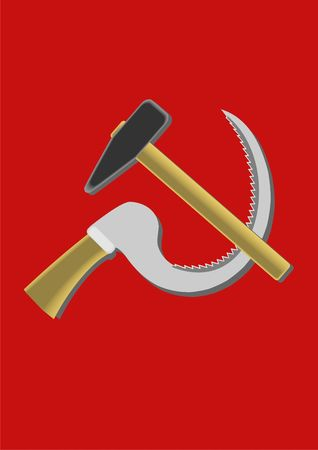 symbolics: A sickle and a hammer, symbolics, on a red background