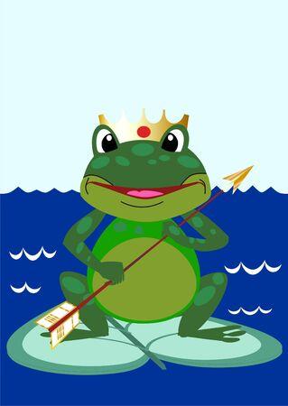 morals: A fantastic tsarevna a frog on a dark blue background
