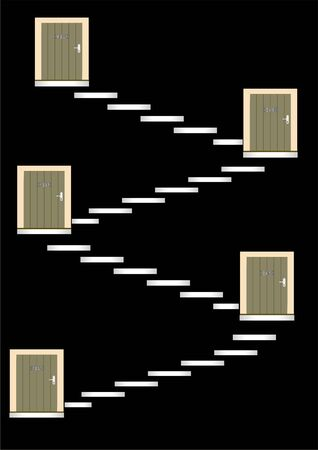 premise: Doors with steps in a dark premise Stock Photo
