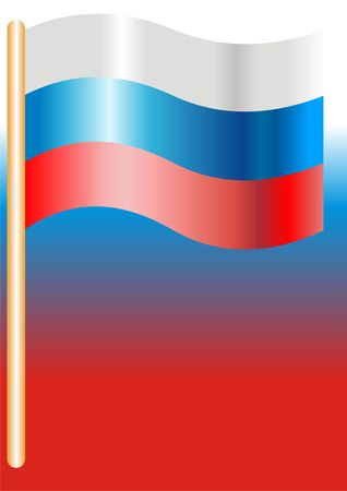fluctuations: . A flag of Russia developing on a colour background. Flag, symbol. Stock Photo