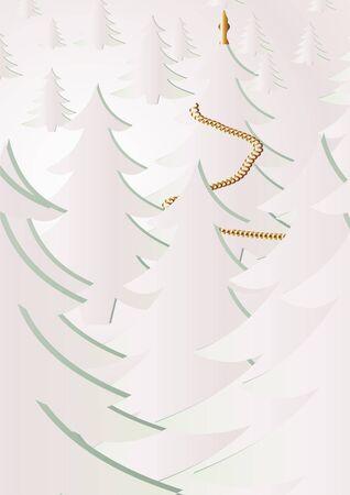 V�spera de a�o nuevo en invierno de madera sobre un fondo gris blanco.