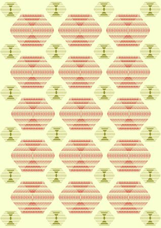 Tr acery in the form of a wavy abstract line and different geometrical figures on light green background.  Stock Photo
