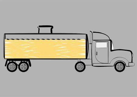 Veh�culo para el transporte de productos derivados del petr�leo, sobre un fondo gris.