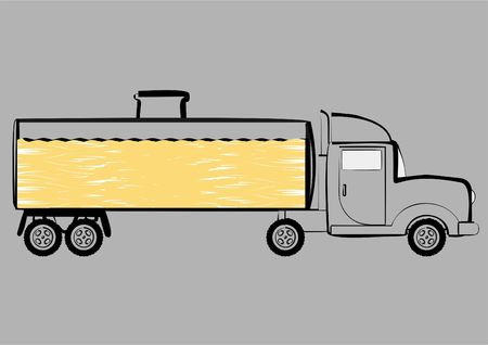 Vehicle for transportation of petroleum products, on a gray background. Stock Photo