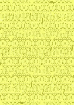 Tracery as circles with ovals and abstract geometric shapes on a yellow background.