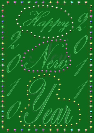 Happy New Year, on a green background in a frame of light bulbs.  photo