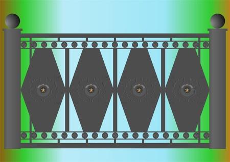 Parte de la valla de hierro de fundici�n, con los s�mbolos de la Uni�n Sovi�tica.  Foto de archivo