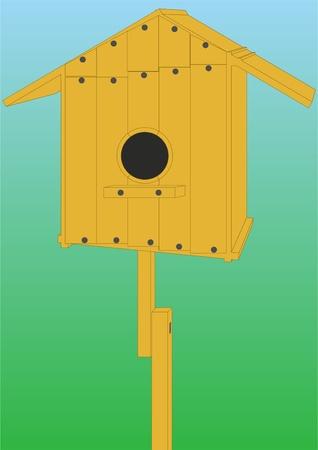 No ordenar la casa de los p�jaros en un fondo coloreado. Foto de archivo