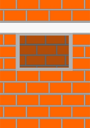 Brick wall with an aperture for a window from the inside wall.