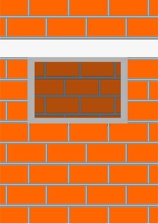 Pared de ladrillos con una apertura de una ventana desde el interior pared.