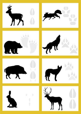 imprints: The contour of the beast, and leave them with a trace on a yellow background.