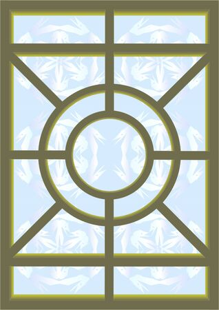 Stained glass for windows, doors, walls, green frame, blue background with dragons. Stock Photo - 9632966
