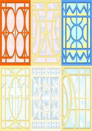 Cristal para ventanas, puertas, paredes, fondo blanco.
