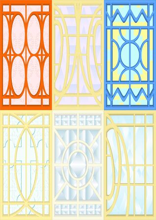 Stained glass for windows, doors, walls, white background. Stock Photo