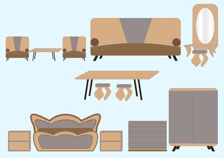 Un conjunto de muebles del mismo tipo sobre un fondo azul claro.  Foto de archivo