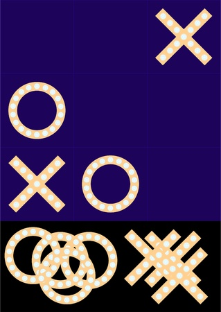 Tic Tac Toe with independent elements, and interspersed with precious stones.