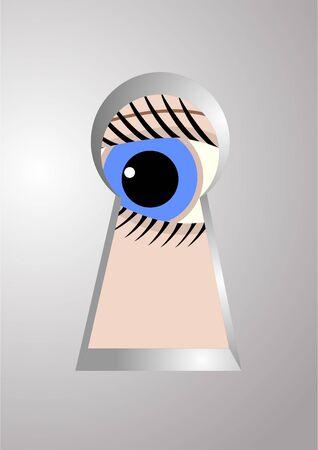 金属製のドアの鍵穴に目。