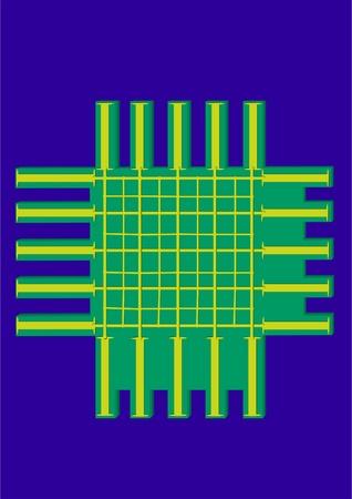 Un chip simple con contactos en un fondo azul. Foto de archivo