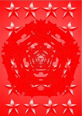 estrellas cinco puntas: . Diferentes lugares, estrellas de cinco puntas sobre un fondo rojo. Foto de archivo