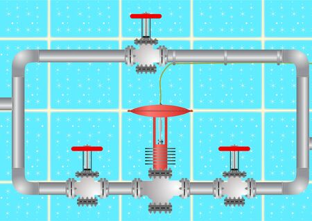 regulating: Adjustment of the valve and valves, to control the flow of fluid, but the background of a blue tile with the stars.